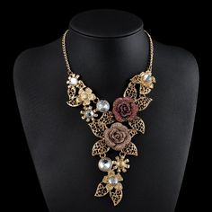 Gold Color Rose Rhinestone Statement Necklace
