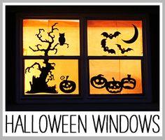 make halloween silhouette windows decor