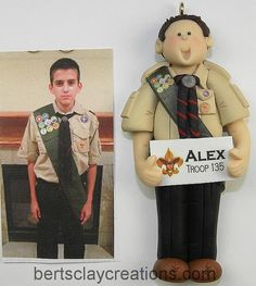 CUSTOM BOY SCOUT Ornament This is for a by BertsClayCreations, $25.00