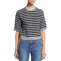 FRAME DENIM Le Cropped Slouchy Striped Tee ($139) ❤ liked on Polyvore featuring tops, t-shirts, sweater pullover, vintage striped t shirt, stripe tee, print t shirts and short sleeve tee