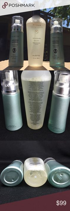 Lancôme Aloette Hydrating Mist Spray Set 1.7oz These products have been sampled and are not sealed. Energy balance sprays come in a set of two and are 1.7 fluid ounces each. Hydrating mist is eight fluid ounces. Cap for hydrating mist is not included. One bottle of ageless science is almost half full to the word balance. Other bottle of ageless science is almost completely full. Hydrating mist is full up to the word aloe pure. Aloette Makeup