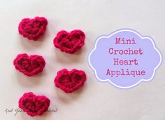 Mini Crochet Hearts pattern by @KYNCrochet.  Use them to create accessories or embellish a handmade gift or use as confetti!