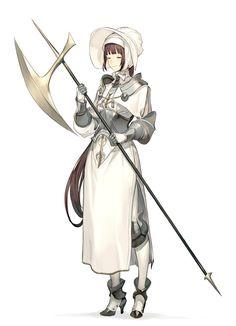 ArtStation - Monk of Sanctuary the white wall, Shuichiro Yamamoto Fantasy Character Design, Character Design Inspiration, Character Concept, Character Art, Concept Art, Anime Fantasy, Fantasy Girl, Anime Elf, Character Portraits