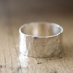 Hammered Wide Band Ring from Praxis Jewelry