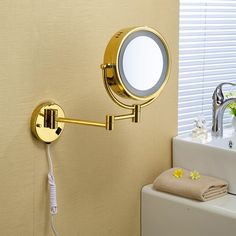 """Free Shipping 9""""Wall Mounted Round 3x / 1x Magnifying Bathroom Mirror LED Makeup Cosmetic Mirror lady's private mirror 1559"""