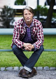 Mads Mikkelsen [ouch - the double plaid - he probably LOVES his Hannibal wardrobe]