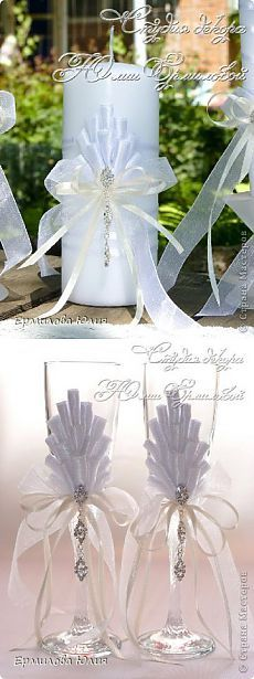 Свадебный набор (свадебные бокалы и свечи) своими руками | Страна Мастеров