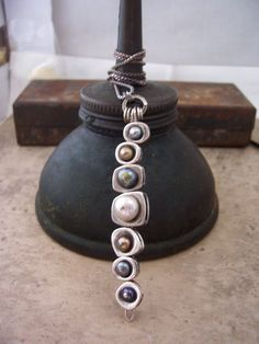 Long Vertebrae necklace with Sterling Silver and Button Pearls