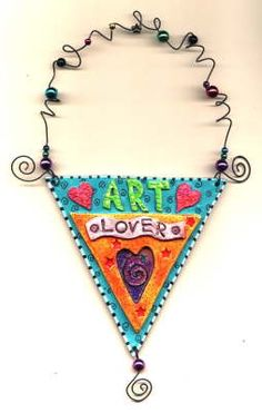 ART Lover Hand painted polymer clay hanging by MaryEllen Pawlak