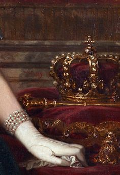 Isabella II by Federico de Madrazo, 1849 (detail) ~ETS Holy Art, Pop Art Wallpaper, Burgundy And Gold, Burgundy Wine, Classical Art, Arte Pop, Detail Art, Renaissance Art, Aesthetic Art