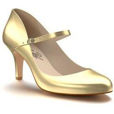Women's Shoes of Prey Leather Mary Jane Pump, Size 14US / 48EU EE - Metallic