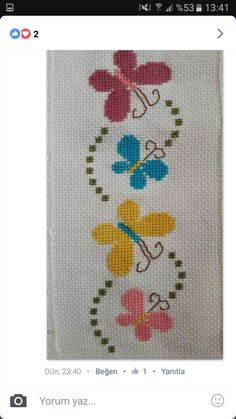 This Pin was discovered by Neş Easy Cross Stitch Patterns, Cross Stitch Borders, Cross Stitch Designs, Cross Stitching, Cross Stitch Embroidery, Embroidery Patterns, Butterfly Cross Stitch, Cross Stitch Heart, Simple Cross Stitch