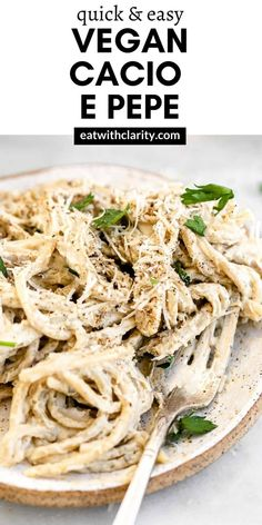 This vegan cacio e pepe pasta is an easy and healthy recipe that only takes about 20 minutes to whip up! With a creamy cheesy cashew sauce and lots of pepper, this vegan pasta recipe is sure to be a family favorite! #veganpasta #cacioepepe