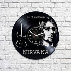 Nirvana Gift Lp Retro Vinyl Record Wall Clock Kurt Cobain Clock Birthday Gift For Man Rock Music Band Gift Nirvana Art Wall Clock Vintage by VinylDecorCrafts on Etsy Курт Кобейн, Ремесло, Виниловые Пластинки, Плакат