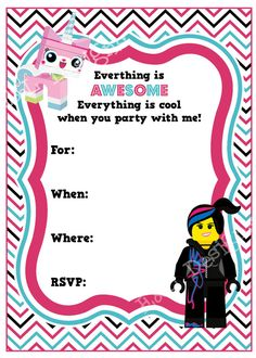 Lego Movie Birthday Invitation Lego Girl Birthday by EandLdesigns Lego Movie Party, Girls Lego Party, Lego Movie Birthday, Lego Friends Birthday, Lego Friends Party, Lego Girls, Girl Birthday, Birthday Ideas, Lego Party Invitations