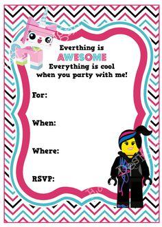 Lego Movie Birthday Invitation, Lego Girl Birthday, Wyld Style Unikitty, Instant Download, Printable