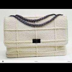 Chanel Mademoiselle style, Chocolate Bar Wool bag Chanel Single Flap Mademoiselle Chocolate Bar Quilted 100%Wool gorgeous bag in warm Cream, off white color.This ladies Authentic Chanel bag has a double Mademoiselle strap. Single flap for more room. This bag is new condition, used 3 times, and will make a perfect addition to your luxury collection. Made of 100% Chanel quality Wool, layered with fine lining underneath . This bag is of highest quality, made in FRANCE of the finest materials…