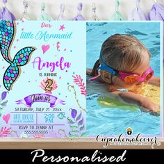 Adorable mermaid party invitations featuring your girl's photo next to a scalloped mermaid tail in a mixture of pink, blue, gold and turquoise colors in watercolor against a rich sea world decorated with sea shells, fish, coral and other elements. Purple Teal, Blue Gold, Coral, Turquoise, Personalized Invitations, Printable Invitations, Custom Invitations, Under The Sea Invites, Under The Sea Theme