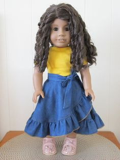 Denim Chambray Circle Skirt for 18 to 20 inch Dolls