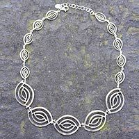 Sterling silver link necklace, 'Ancient Eyes' by NOVICA