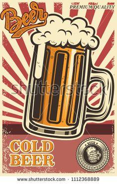 Beer poster in retro style. Beer objects on grunge background. Design element for card, flyer, banner, print, menu. Vector illustration: купите это векторное изображение на Shutterstock и найдите другие изображения. Postcard Album, Female Poets, Beer Poster, Arte Popular, Bike Art, Retro Design, Craft Beer, Retro Fashion, Retro Vintage