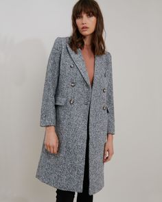Antonia Herringbone Tweed Coat