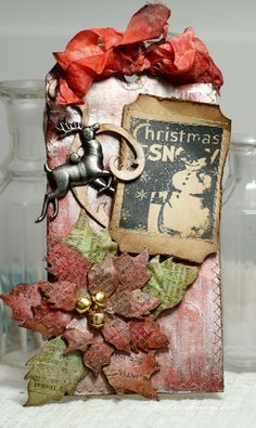 Grungy Christmas Tag...Annes paper fun.  Bird's Eye View of the Katydid http://www.birdseyeviewoftheworldofthekatydid.blogspot.com