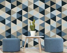 Geometric Removable Wallpaper, Blue, Navy, Creams Self Adhesive Wallpaper, Textured Unique and Fun Home Decor