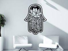 Wall Decal Vinyl Sticker Decals Hamsa Hand Lotus Flower Yoga Namaste Indian Ornament Fatima Hand Wall Stickers Home Decor Art Bedroom Design Interior Mural C3