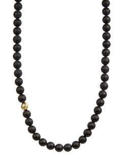 Matte Black Onyx Asymmetrical Necklace/ 18kt. Gold - Northskull