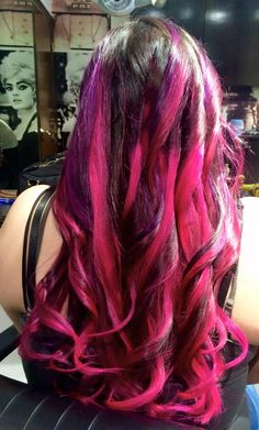 Pink ombré highlights with a touch of purple.