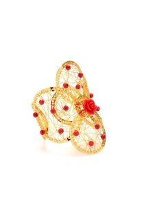 Accessorize with this gold flower weave cuff with red rose and coral beads #flower #floral #trend