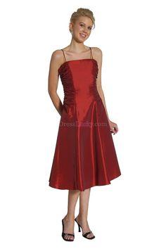 A-Line/Princess Spaghetti Straps Natural Sleeveless Tea-length Taffeta Mother Of The Bride Dresses MD150B