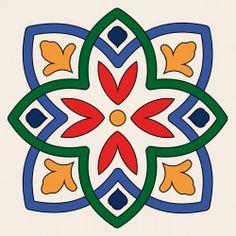 W1600275 Islamic Art Pattern, Pattern Art, Ceramic Tile Art, Mexican Art, Mosaic Patterns, Mandala Art, Stencils, Art Drawings, Applique
