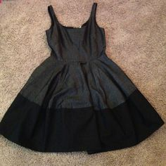 Dress Fit and flare, linen and cotton, 1 finger across strap, black on black, and it has pockets!!! GAP Dresses