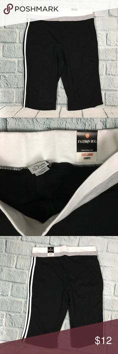 "NWT Fashion Bug Casual Long Stretch Black Shorts NWT Long black shorts from Fashion Bug.  Allover stretch.  White and gray stripe accents. 100% Cotton Size L --- Waist: 34"" with stretch available --- rise: 13"" --- Inseam: 14"" Fashion Bug Shorts"