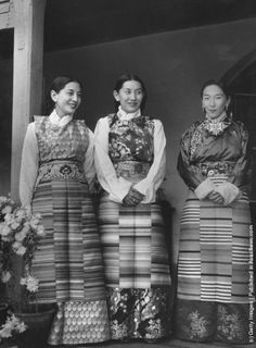 hree women from Sikkim, the northern Indian state which borders with Tibet, wearing traditional clothing. (Photo by Dr Ulrich Mohr/Keystone/Getty Images). 2nd April 1959