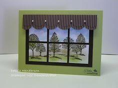 handmade card from Debbie's Designs ... Lovely as a Tree ... luv the scene she created ... window pane panels divide it into six sections ... luv it! ... Stampin' Up!