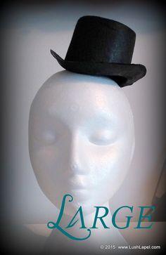 """$5.95  Large Top Hat Fascinator Base   Unique 6.5 x 3""""Black Felt by LushLapel"""
