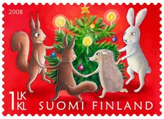 Finland - class Stamp of Finland, created by Julia Vuori, shows forest animals gathered together around a Christmas tree for a round game. Noel Christmas, Christmas Photos, Xmas, Vintage Christmas, Illustration Noel, Illustrations, Dancing Animals, Kitsch, Postage Stamp Art