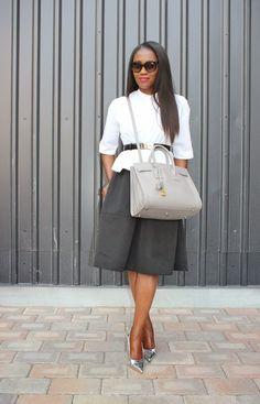 Style Inspiration: Black.... Power Look >> Top: Zara,  Skirt: Express,  Bag: Saint Laurent Paris,  Shoes: Manolo Blahnik, Belt: Ferragamo, Sunglasses: Prada #DressLikeABoss #workwear #careerfashion Black Women Fashion, Fashion Tips For Women, Womens Fashion, Fashion Ideas, Power Dressing, Saint Laurent Paris, Career Wear, Work Looks, Manolo Blahnik