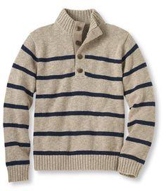 Cotton Ragg Sweater, Button Mock Stripe: Henleys and Zip-Necks | Free Shipping at L.L.Bean
