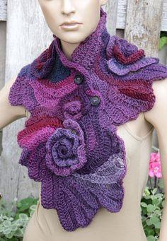 Crochet Scarf Capelet Roses Neck Warmer Unique Freeform