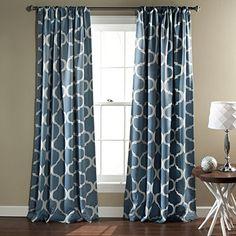 Geo Blackout Blue Window Curtain (Pair)