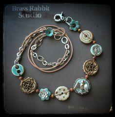 Rustic mixed media necklace | Brass Rabbit Studio