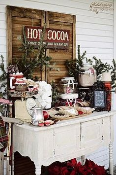 This hot chocolate station is so charming and rustic. Perfect for a cozy winter celebration!