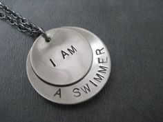 I AM a SWIMMER Necklace - Swimming Necklace on 18 inch gunmetal chain - Swimming Jewelry - Swim Team Necklace - Life Guard Necklace on Etsy, $19.00