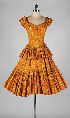 millésime robe des années 1950 ~ coton fleuri orange, jupe à plusieurs niveaux