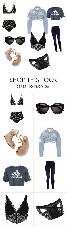"""""""Swim and outfit after Amazing swim"""" by invisable-me ❤ liked on Polyvore featuring Zimmermann, Schutz, adidas and River Island"""