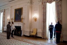 President Obama and First Lady  tour the State Dining Room of the White House.1/24/2009